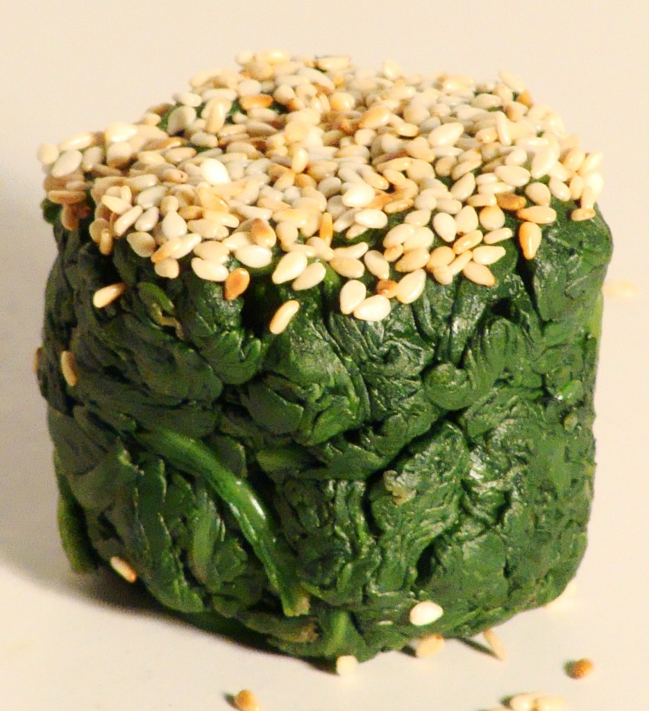 Tamari Spinach Dipped In Toasted Sesame Seeds